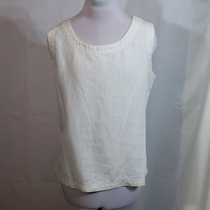 EUC Preston & York White Linen Sleeveless Top Sz L